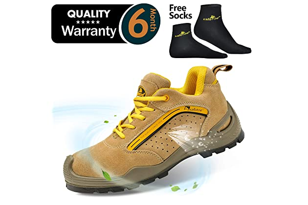 6db7e7f9d91e4 SAFETOE Mens Safety Work Shoes - L7296 Leather   Steel Toe Work Boots for  Heavy Duty Work Wide Fit