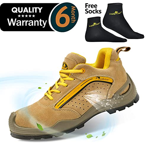 SAFETOE Mens Safety Work Shoes - L7296 Leather   Steel Toe Work Boots for  Heavy Duty da03c1a8a