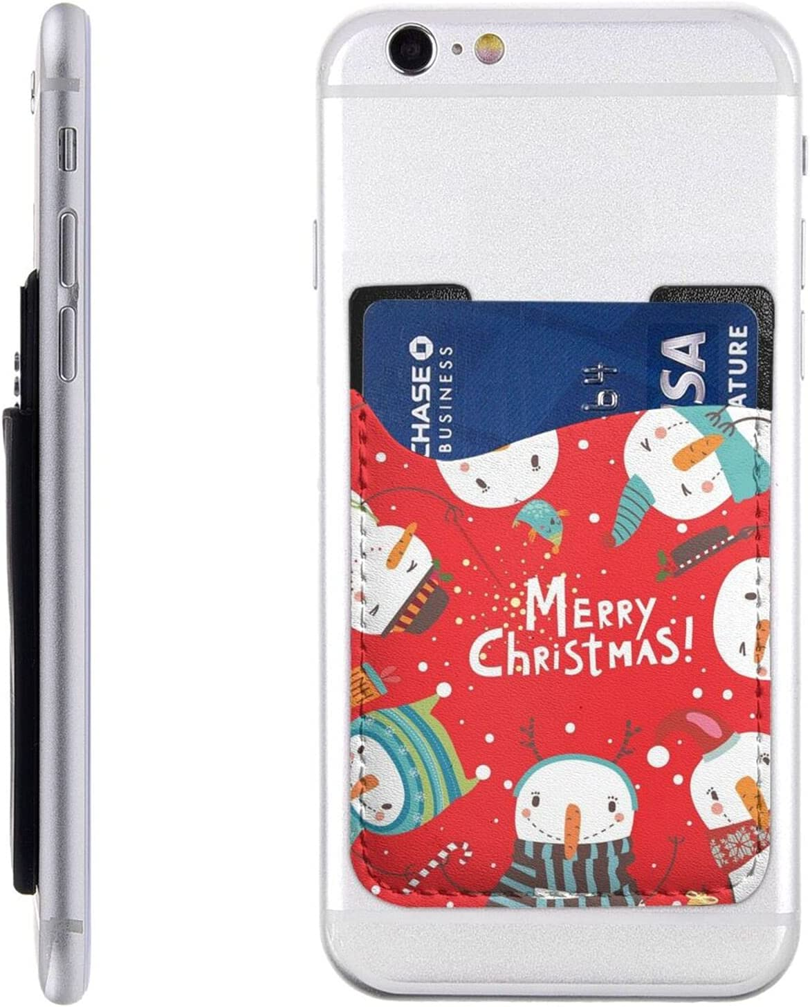 Xmas Snowman Phone Card Holder Wallet S Stick On Cell Miami New arrival Mall