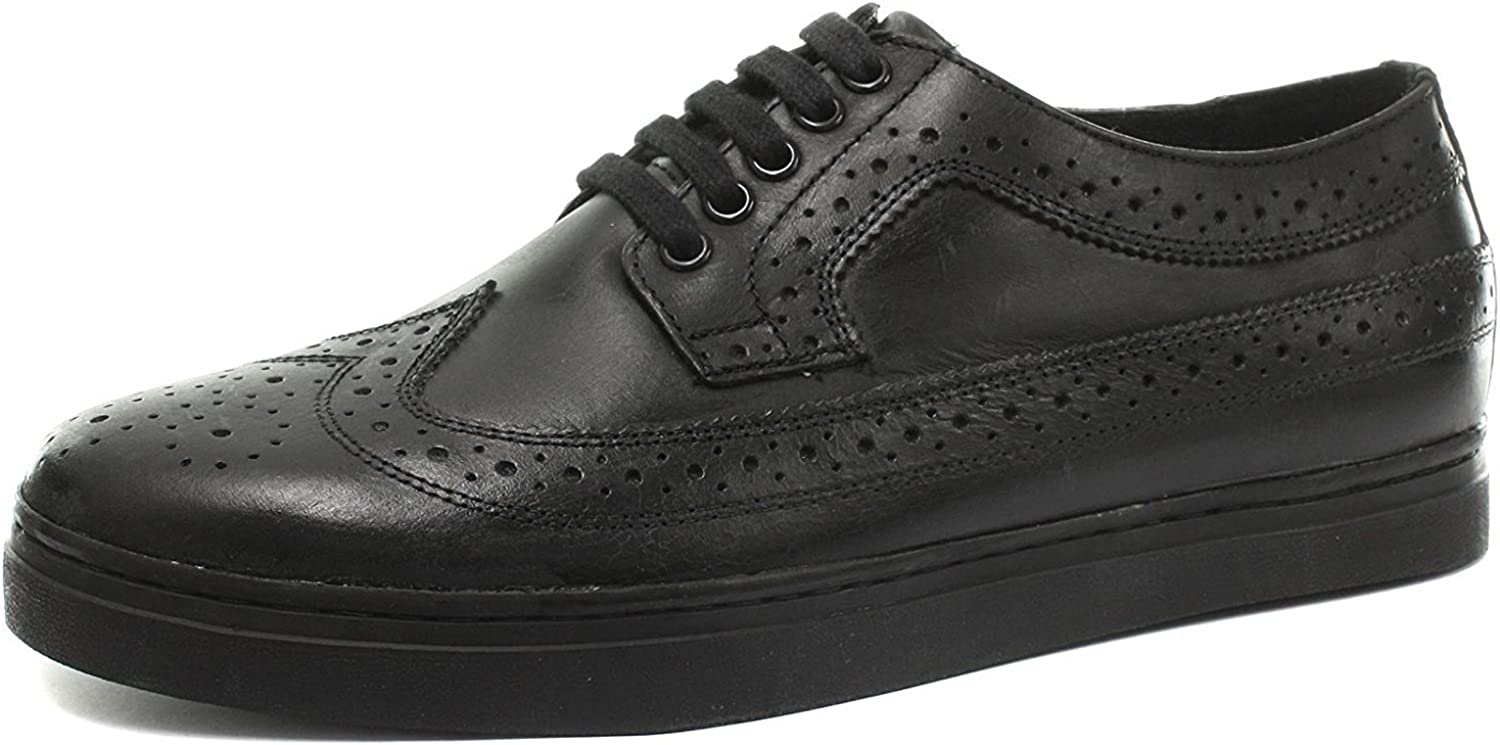 Grinders Alex Black Men's Lace up Brogue shoes Real Leather Non Steel Toe American 3 Eyelet Derby Goodyear Welted shoes