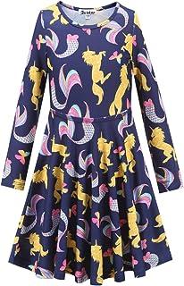 فساتين Jxstar للفتيات بأكمام طويلة من القطن للأطفال لفصل الخريف والشتاء ملابس فخمة