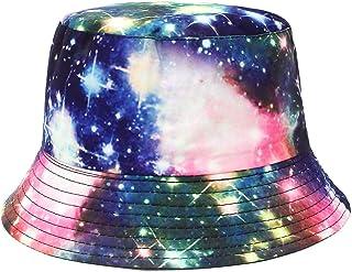 Jelord Sombrero Pescador Algodón Estampado Cielo Estrellado Bucket Gorro Bucket Hat Reversible Sombrero de Sol Gorras Gorr...