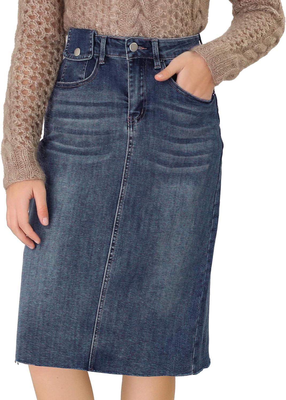 Directly managed store Allegra K Women's Casual Jean Skirt Short Long Beach Mall Waisted Back Vent High