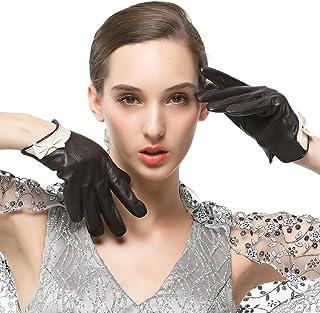 Nappaglo signore i guanti di pelle spessa pelle d'agnello breve caldo guanti d'bownots (touchscreen o non touchscreen)