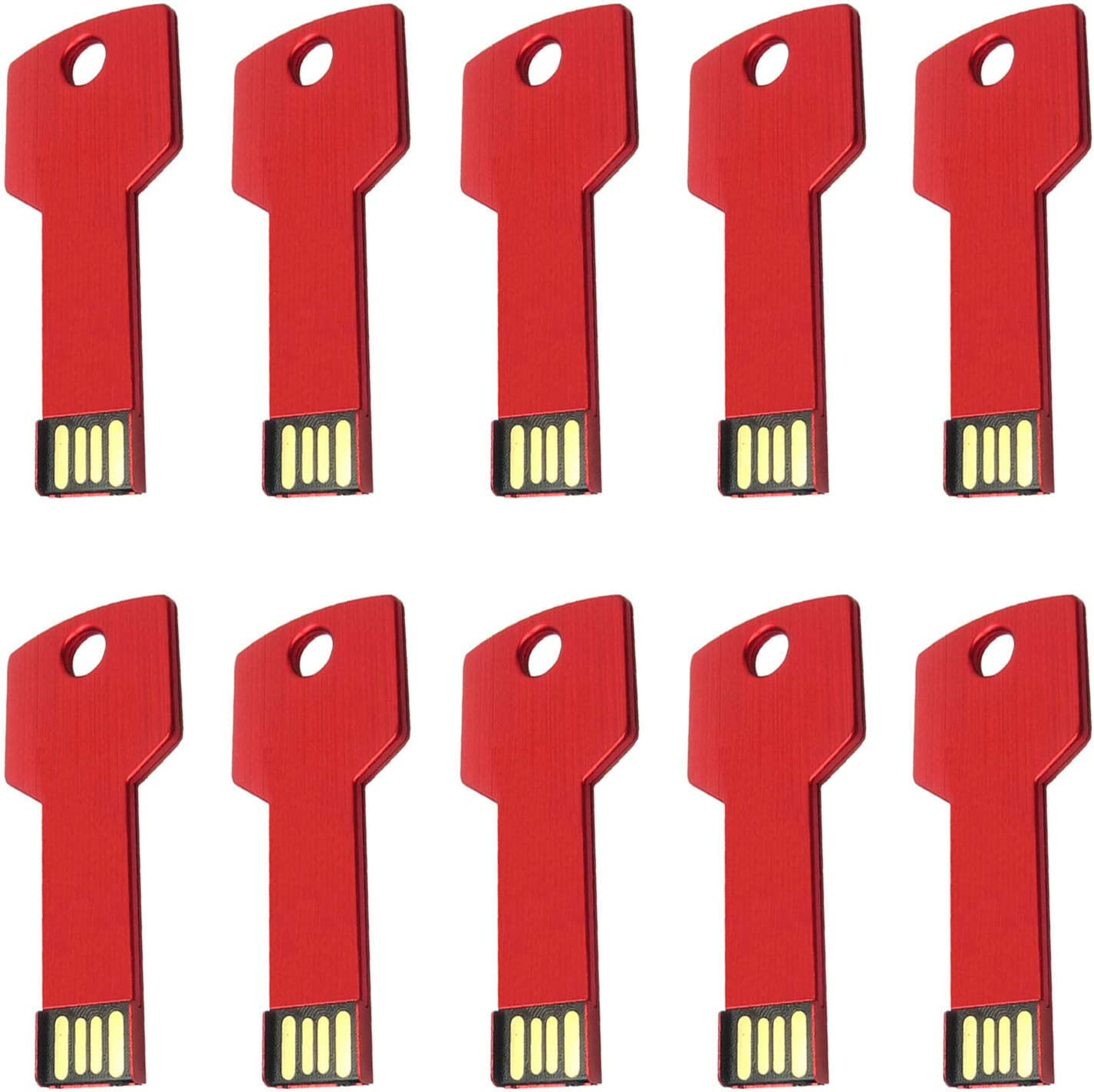 Lot 10 USB Flash Drive 2GB Memory Pen Stick Wholesale Key Shape Bulk Pack (2GB, Red)