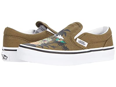 Vans Kids Classic Slip-On (Little Kid) ((Dineapple Floral) Military Olive/True White) Boys Shoes