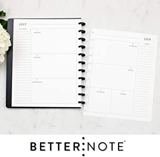 BetterNote July 2019- June 2020 Horizontal Weekly and Monthly Calendar for Disc-Bound Notebook, 11-Disc Letter Size, Fits Levenger Circa, Arc, 8.5