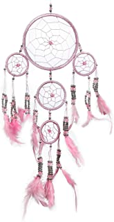 Pink Pineapple Handmade Bohemian Dream Catcher: Ethical Hanging Dreamcatcher Wall Art with Feathers and Silver Beads Tradi...