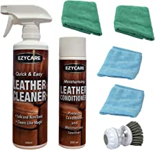 EzyCare Leather Care Kit with Leather Cleaner & Leather Conditioner, Microfibre Cleaning Cloths & Leather Cleaning Brush f...