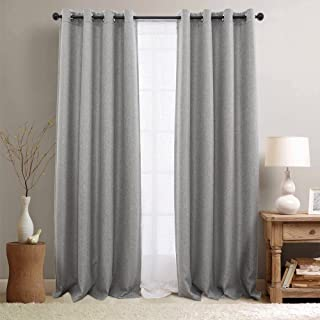 jinchan Thermal Insulated Textured Faux Linen Room Darkening Curtain Panels for Bedroom Drapes for Living Room Grommet Top One Panel L95-Inch Grey