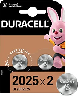Duracell Pilas de botón de litio 2025 de 3 V, paquete de 2, con Tecnología Baby Secure, para uso en llaves con sensor magn...