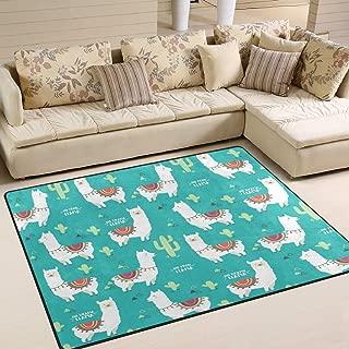 ALAZA Cartoon White Llama Alpaca and Cactus Plant Area Rug Rugs for Living Room Bedroom 7' x 5'