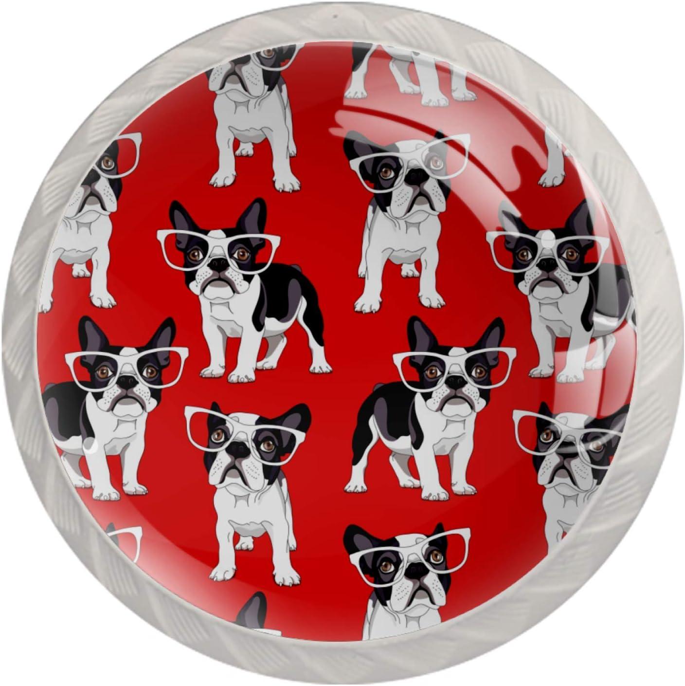Lenergy White Cabinet Knobs Bulldog with Glasses Drawer Knobs Mo