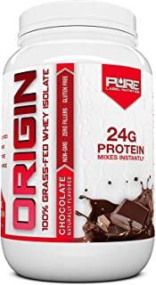 Pure Label Nutrition 100% Grass-Fed Whey Protein Isolate, 2lb Chocolate, No Fat, No Lactose, Micro-Filtered, Cold Processe...