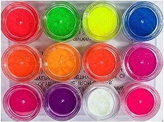 Neon Eyeshadow Pigments Black Light UV Reactive 12 Bright Powder Colors Kit
