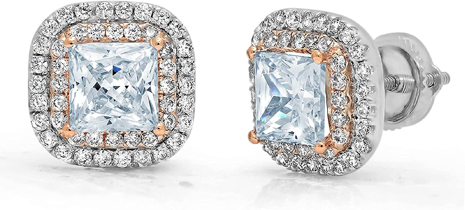 Clara Pucci 2.52 ct Brilliant Princess Round Cut Double Halo Solitaire Genuine Flawless Blue Simulated Diamond Gemstone Pair of Solitaire Stud Screw Back Earrings Gemstone18K 2 tone Gold