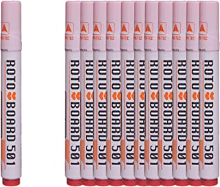 قلم ماركر للسبورة بسن مشطوف بورد 501 من روتو، 12 قلم - احمر
