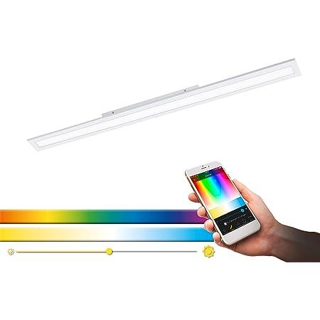 EGLO connect plafonnier LED SALOBRENA-C, lampe de plafond Smart Home, luminaire effet ciel étoilé en aluminium et plastique, 119,5 x 10 cm, dimmable, tons blancs et couleurs réglables