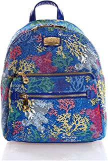 WILLA - Light Weight Compact Backpack Fashionable and Trendy – Tapestry Style with Vegan Leather Trim and Quality Metal Fittings HB-249