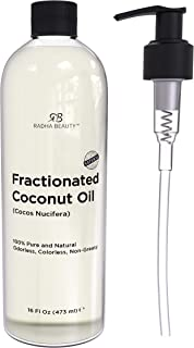 Radha Beauty Fractionated Coconut Oil 100% Pure & Natural Carrier and Base Oil