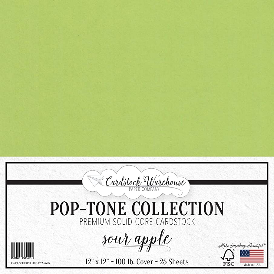 Sour Apple Green Cardstock Paper - 12 x 12 inch 100 lb. Heavyweight Cover - 25 Sheets from Cardstock Warehouse