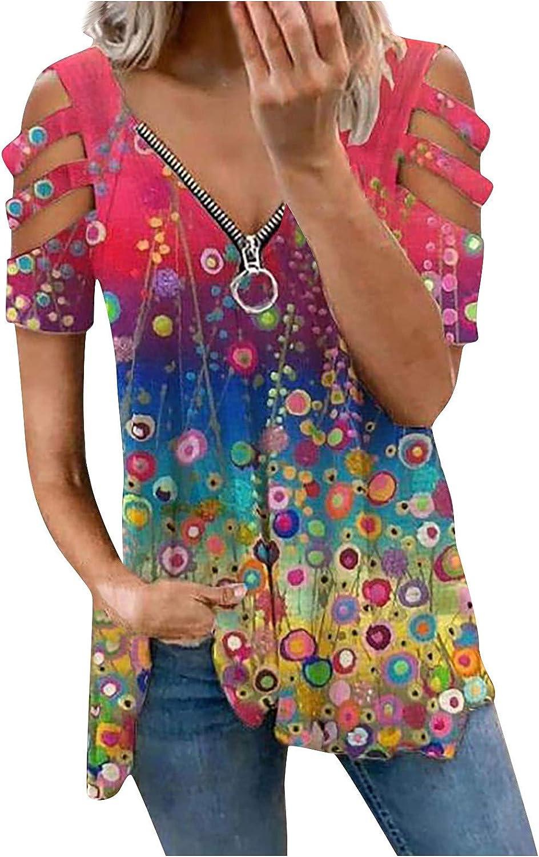 POLLYANNA KEONG Womens Summer Tops Plus Size,Womens Summer T Shirts Short Sleeve Tunic Zipper Front Cold Shoulder Tops