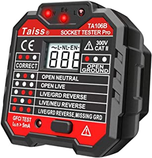 Socket Tester with GFCI check. Receptacle Tester for Standard AC Outlets. Automatic Electric Circuit Polarity Voltage Detector Breaker Finder,Includes 7 Visual Indications and Wiring Legend TA106B