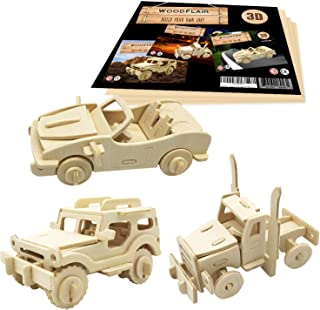 WoodFlair 3D Wooden Puzzle, Set of 3, Cars