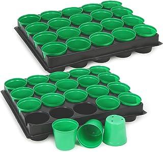 com-four 40x Anzuchttöpfe mit Pflanzschalen zum Anzüchten von Pflanzen, Pflanzkasten für 40 Pflanzen, 30,5 x 25,5 x 5,8 cm 040 Stück - Anzuchttöpfe mit Tablett