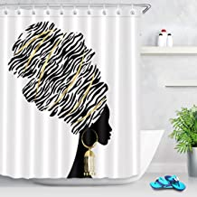LB Tribal Black Girl Shower Curtain Set,African Girl with Zebra Headwear Afro Print Black Art Shower Curtains for Bathroom...