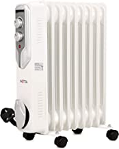 NETTA 2000W Oil Filled Radiator With Thermostat, Electric Portable Free Standing Energy Efficient Heater, 3 Power Settings - 9 Fin
