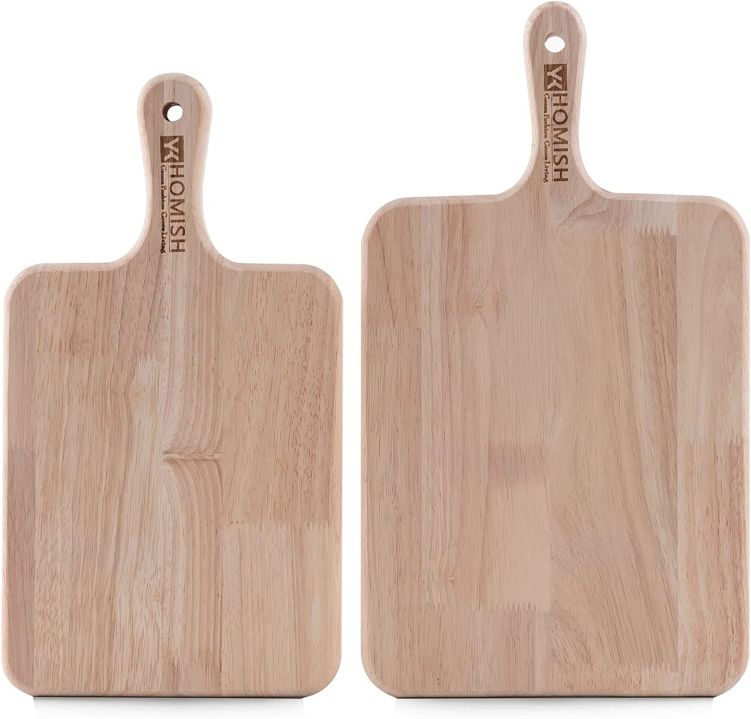 Wood Cutting Board for Kitchen Thick Chopping Board with Handles (Brown Rectangle, 16x9 & 14.5X8