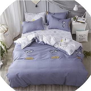 Fashion Bedding Set 2019 Summer Geometric Grid Bed linens 3 or 4pcs/Set Duvet Cover Set Pastoral Bed Set Kids Adult Bedclothes,Smile Grey Blue,King,Flat Sheet