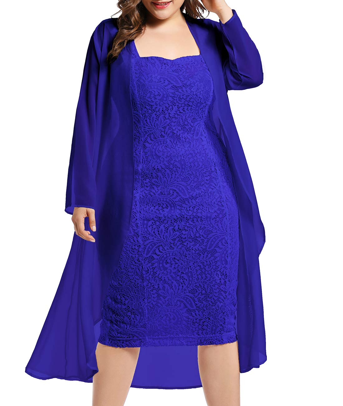 Available at Amazon: LALAGEN Women's Plus Size Lace Bodycon Wedding Party Midi Dress with Chiffon Cardigan