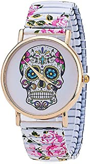 Skull Pattern Watch Women Fashion Elastic Band Watches