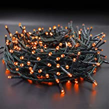 Twinkle Star 66ft 200 LED Halloween String Lights UL Safe Certified Outdoor Fairy Lights Plug in, Expandable Green Wire Clear Bulbs Mini Lights 8 Modes, Christmas Wedding Party Decoration, Orange