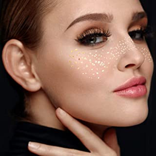 Face Tattoo Sticker Metallic Shiny Temporary Water Transfer Tattoo for Professional Make Up Dancer Costume Parties, Shows Gold Glitter (001)
