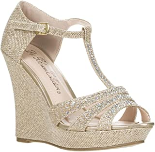 Womens Dressy Glitter Rhinestone T Strap Platform Wedge Sandal Aalle-2