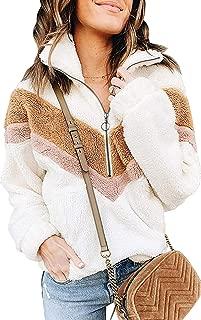 ZESICA Women's Long Sleeve Half Zipper Color Block Casual Sherpa Fleece Pullover Sweatshirt Outwear Jacket Coat with Pockets
