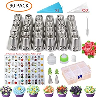 ANSLYQA Russian-Piping-Tips-Set (90 Pack) with 30 Numbered Large Russian Tips & Flower Pattern Chart,2 Leaf Tip,52 Pastry-Icing-Bags,3 Couplers for Baking Cupcake Cookies Cake-Decorating Supplies Kit