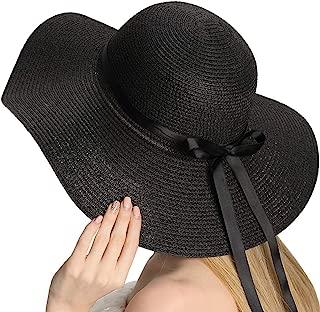 Yetagoo Summer Beach Sun Hats for Women Wide Brim Foldable Cotton Fedora Cap UPF 50+