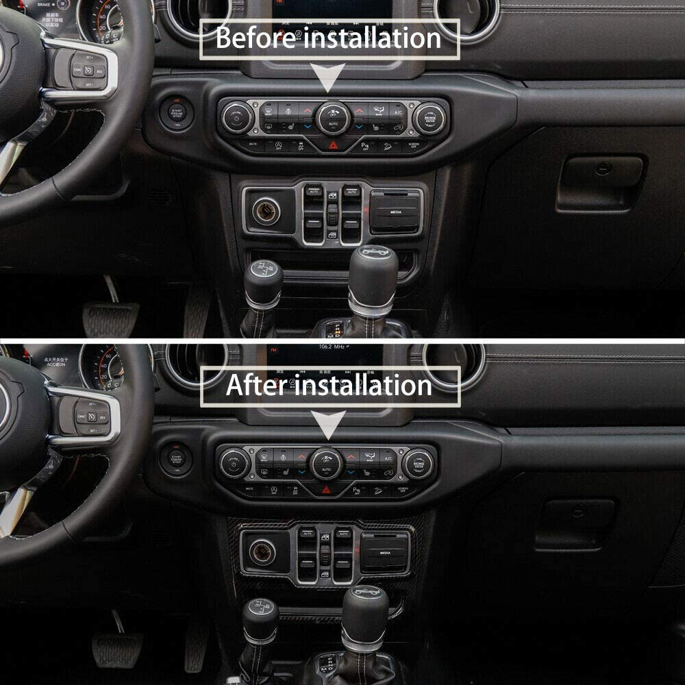Door Handle bowl,Center Console,Gear Shift,Air Outlet,Headlight Steering Wheel Center Sticker NO7RUBAN Carbon Fiber Style Full Set Interior Decoration Cover Trim for Jeep Wrangler JL 2018