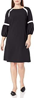 Julian Taylor Women's Plus Size Color Blocked 3/4 Puff Sleeve Shift Dress