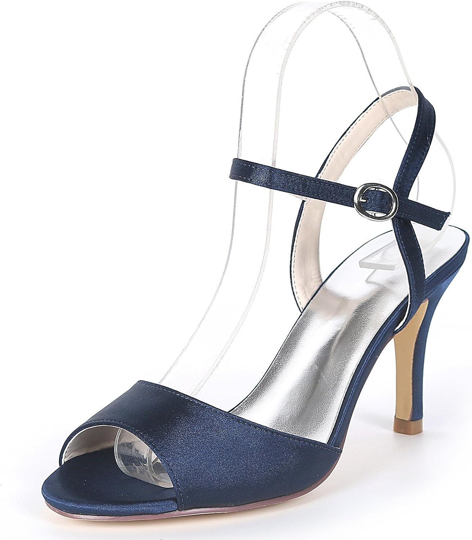 Elobaby Frauen Hochzeitsschuhe Fashion Mid Heels Schnalle Stiletto Chunky Peep Toe High Heels   8,5 cm Absatz
