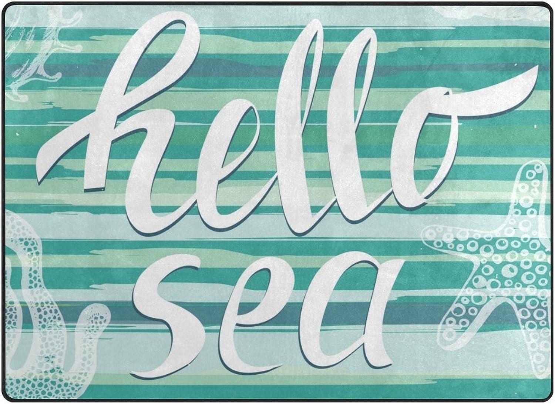 SUABO 80 x 58 inches Area Rug Non-Slip Floor Mat Hello Sea Printed Doormats Living Room Bedroom