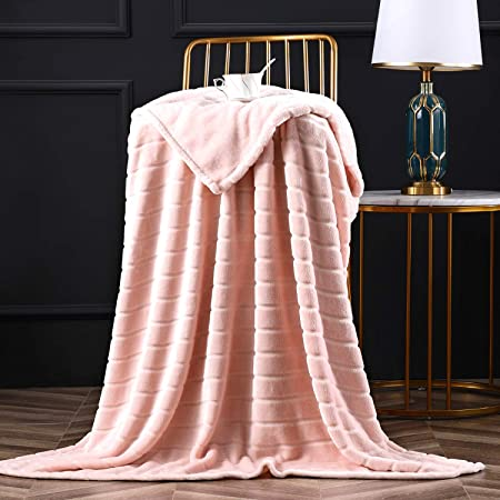 NOT Geometric Triangles Rose Gold White Flannel Blanket Super Soft and Comfortable Fuzzy Luxury Warm Plush Microfiber Blanket Suitable for Bed Sofa Travel Four Seasons Blanket 60 x 50