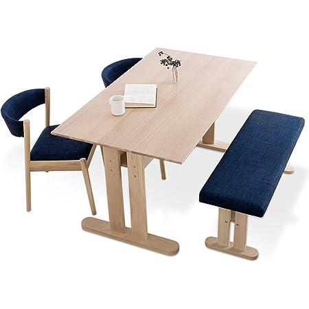 LOWYA ロウヤ ダイニングセット 4人掛け テーブル ベンチタイプ ファブリック座面 幅140 ネイビー