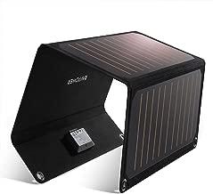 RAVPower ソーラーチャージャー 21W ソーラー充電器 ソーラーパネル 2ポート iPhone XR/XS/XS Max/iPad/Xperia/Android各種対応 防災 キャンプ アウトドア用 RP-PC118