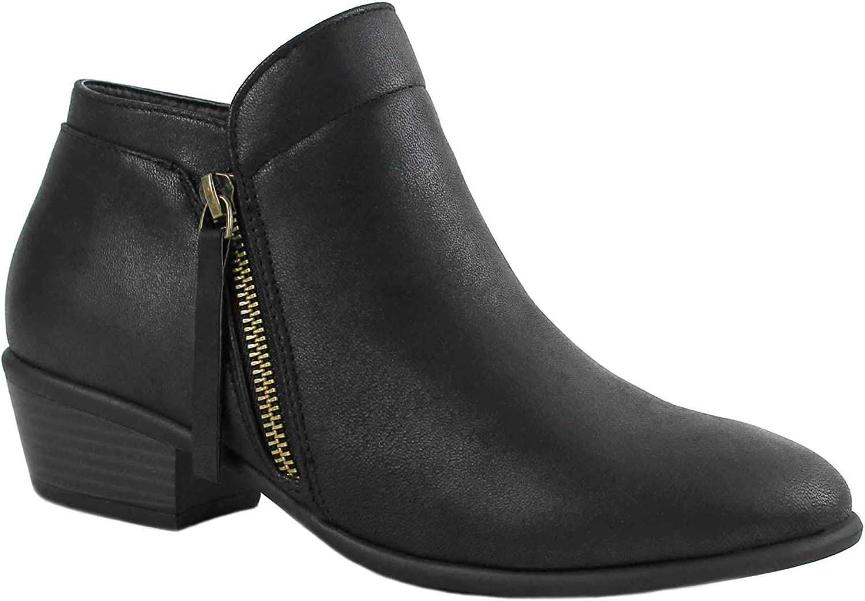 ILLUDE Woherrar Cowboy Block Heel Side Zipper Zipper Zipper Ankle Booslipss Low Heel skor  online försäljning