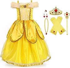 URAQT Vestido de Princesa Elsa, Reina Frozen Disfraz Elsa Vestido Infantil Niñas Costume Azul Cosplay de Disney Disfraz de Halloween, Cumpleaños